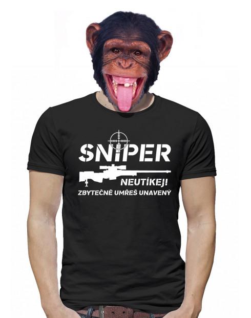 Pánské tričko Sniper - Neutíkej, zbytečně umřeš unavený