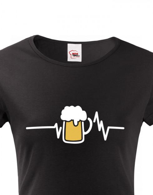 Dámské tričko s potiskem pivo