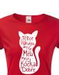 Dámské tričko s kočkou Těžce pracuji