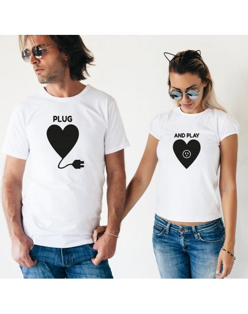 Trička pro páry PLUG and PLAY