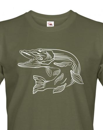 Tričko pro rybáře s motivem štiky
