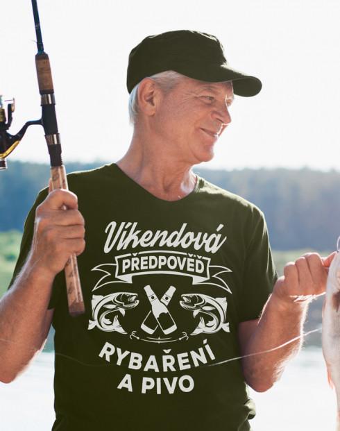 Tričko pro rybáře Víkendová předpověď rybaření a pivo