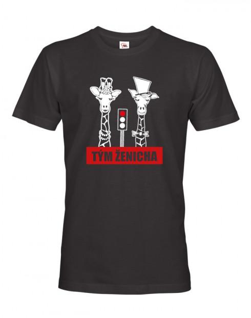 Pánské tričko pro tým ženicha Žirafy