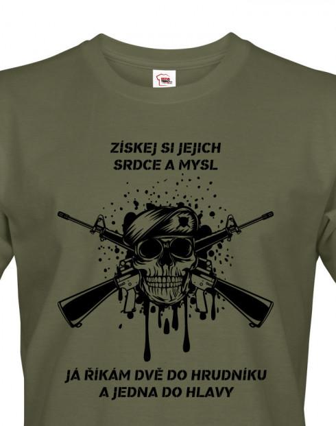 Pánské army triko Dvě do hrudníku a jedna do hlavy