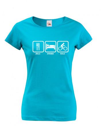 Dámské cyklo tričko Jídlo-spánek-kolo