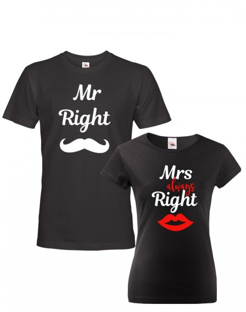 Párová trika Mr Right a Mrs Always Right