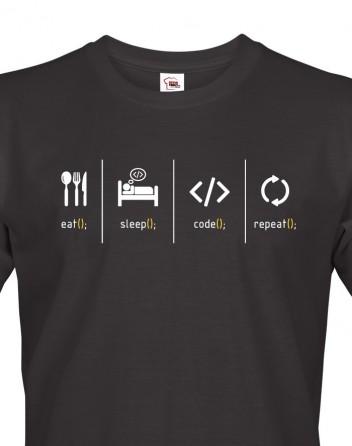 Pánské tričko pro IT Eat, sleep, code, repeat