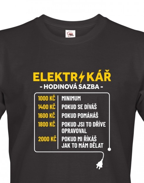 Tričko pro elektrikáře - Hodinová sazba