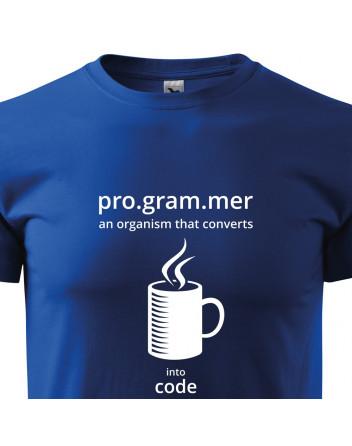 Pánské tričko pro programátory Convert coffee in to code